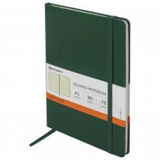 "Блокнот А5 (148х218 мм), BRAUBERG ""Metropolis"", балакрон, резинка, 80 л., зеленый, 111583"