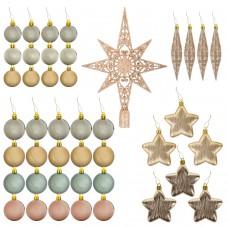 Набор украшений для ели ЗОЛОТАЯ СКАЗКА, 43 предмета, цвет золото + перламутр, 591129