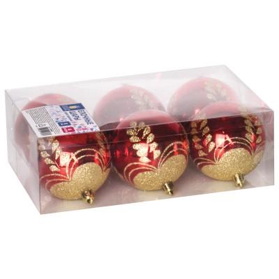 Шары елочные ЗОЛОТАЯ СКАЗКА, НАБОР 6 шт., пластик, 8 см, с золотистым рисунком, цвет красный, 590889