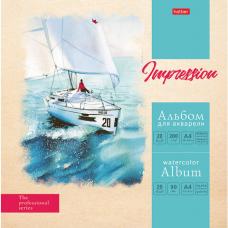 Альбом для акварели А4 20 л., 200 г/м2 склейка, матовая ламинация, HATBER, 'Морские дали', 20Аа4лтВк_22168