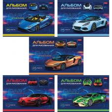 Альбом для рисования А4 24 л., скоба, обложка картон, HATBER, 205х290 мм, 'Car Design', 24А4В