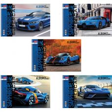 Альбом для рисования А4 32 л., спираль, обложка картон, HATBER, 205х290 мм, 'Supercar' (5 в спайке), 32А4Всп
