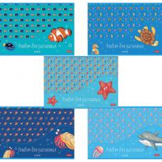 Альбом для рисования А4 40 л., скоба, обложка картон, HATBER, 205х290 мм, 'В синем море', 40А4В