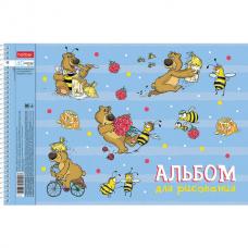 Альбом для рисования А4 40 л., спираль, обложка картон, HATBER, 205х290 мм, 'Забавы' (4 вида в спайке), 40А4Всп