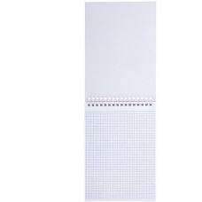 Блокнот А5 (146х205 мм) 80 л., гребень, бумвинил, клетка, HATBER, METALLIC Красный, 80Б5бвВ1гр