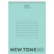 Блокнот А5 (146х205 мм) 80 л., гребень, пластик, клетка, HATBER Premium, NEWtone Мята, 80Б5A1гр_05039