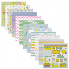 Бумага для скрапбукинга 15х15 см 'Бэби-бук', двусторонняя, 12 листов, 12 дизайнов, 180 г/м2, ОСТРОВ СОКРОВИЩ, 662760