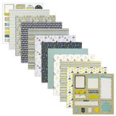 Бумага для скрапбукинга 15х15 см 'Геометрия', двусторонняя, 12 листов, 12 дизайнов, 180 г/м2, ОСТРОВ СОКРОВИЩ, 662758