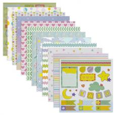Бумага для скрапбукинга 30х30 см 'Бэби-бук', двусторонняя, 12 листов, 12 дизайнов, 180 г/м2, ОСТРОВ СОКРОВИЩ, 662772