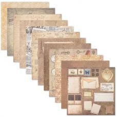 Бумага для скрапбукинга 30х30 см 'Ретро', двусторонняя, 12 листов, 12 дизайнов, 180 г/м2, ОСТРОВ СОКРОВИЩ, 662767