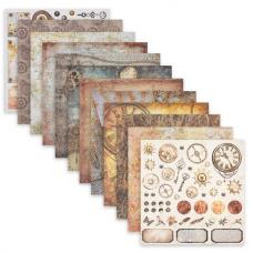 Бумага для скрапбукинга 30х30 см 'Стимпанк', двусторонняя, 12 листов, 12 дизайнов, 180 г/м2, ОСТРОВ СОКРОВИЩ, 662769