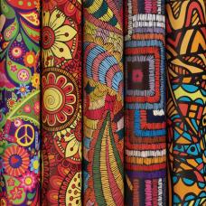 Бумага упаковочная мелованная 70х100 см ЗОЛОТАЯ СКАЗКА 'Ethnic 1', 5 дизайнов, 70 г/м2, 591591