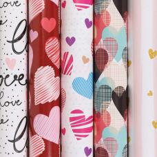 Бумага упаковочная мелованная 70х100 см ЗОЛОТАЯ СКАЗКА 'Love', 5 дизайнов, 70 г/м2, 591595