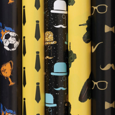 Бумага упаковочная мелованная 70х100 см ЗОЛОТАЯ СКАЗКА 'Man Style', 5 дизайнов, 70 г/м2, 591586
