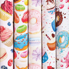 Бумага упаковочная мелованная 70х100 см ЗОЛОТАЯ СКАЗКА 'Sweets', 5 дизайнов, 70 г/м2, 591596