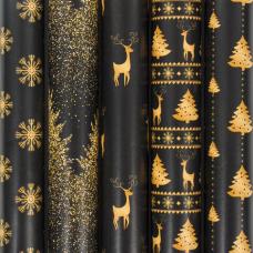 Бумага упаковочная новогодняя 70х100 см ЗОЛОТАЯ СКАЗКА 'Black&Gold', 5 дизайнов, 70 г/м2, 591584