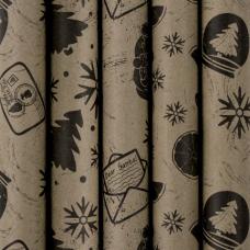 Бумага упаковочная новогодняя 70х100 см ЗОЛОТАЯ СКАЗКА 'Kraft Collection', 5 дизайнов, 80 г/м2, 591585