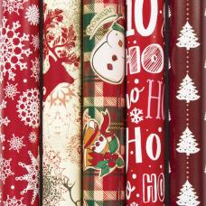 Бумага упаковочная новогодняя 70х100 см ЗОЛОТАЯ СКАЗКА 'Red Collection', 5 дизайнов, 70 г/м2, 591582