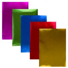 Цветная фольга А4 АЛЮМИНИЕВАЯ НА БУМАЖНОЙ ОСНОВЕ, 5 листов 5 цветов, ЮНЛАНДИЯ, 210х297 мм, 111959