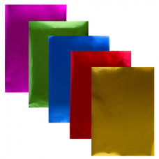 Цветная фольга А4 САМОКЛЕЯЩАЯСЯ АЛЮМИНИЕВАЯ, 5 листов 5 цветов, ЮНЛАНДИЯ, 210х297 мм, 111961