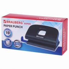 Дырокол BRAUBERG 'Super', до 10 листов, черный, 229090