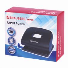 Дырокол BRAUBERG 'Super', до 20 листов, черный, 229091