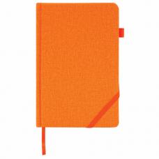 Ежедневник недатированный А5 (138x213 мм) BRAUBERG 'Finest', 136 л., кожзам, резинка, оранжевый, 111873