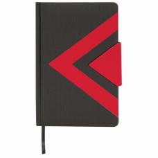 Ежедневник недатированный А5 (138x213 мм) BRAUBERG 'Waves', 160 л., кожзам, черный/красный, 111876