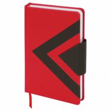 Ежедневник недатированный А5 (138x213 мм) BRAUBERG 'Waves', 160 л., кожзам, красный/черный, 111874