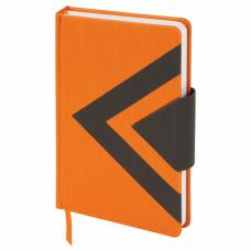 Ежедневник недатированный А5 (138x213 мм) BRAUBERG 'Waves', 160 л., кожзам, оранжевый/черный, 111878
