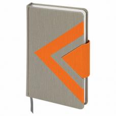 Ежедневник недатированный А5 (138x213 мм) BRAUBERG 'Waves', 160 л., кожзам, серый/оранжевый, 111877