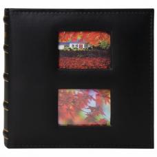 Фотоальбом BRAUBERG 'Autumn' на 200 фото 10х15 см, под кожу, бумажные страницы, бокс, черный, 391191