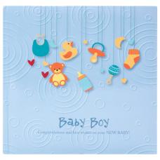Фотоальбом BRAUBERG 'Baby Boy' на 200 фото 10х15 см, твердая обложка, бумажная страница, бокс, голубой, 391144