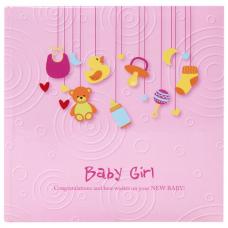 Фотоальбом BRAUBERG 'Baby Girl' на 200 фото 10х15 см, твердая обложка, бумажные страницы, бокс, розовый, 391143