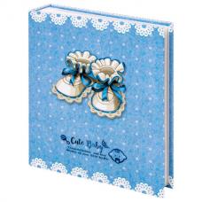 Фотоальбом BRAUBERG 'Baby shoes' на 200 фото 10х15 см, твердая обложка, термосклейка, голубой, 39114