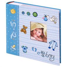 Фотоальбом BRAUBERG 'It's a boy' на 200 фото 10х15 см, твердая обложка, бумажные страницы, бокс, голубой, 391146