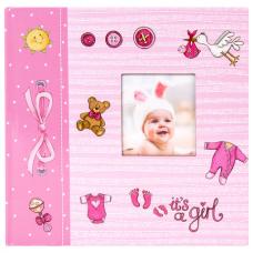 Фотоальбом BRAUBERG 'It's a girl' на 200 фото 10х15 см, твердая обложка, бумажные страницы, бокс, розовый, 391145