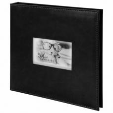 Фотоальбом BRAUBERG 'Premium Black' 20 магнитных листов 30х32 см, под кожу, черный, 391186