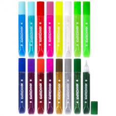 Гель с блестками ЮНЛАНДИЯ, 16 цветов ассорти по 10,5 мл, блистер, 662255