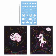 Гравюра магическая 'Единорог и котенок', А5, 2 основы в комплекте, с трафаретом, ЮНЛАНДИЯ, 662688