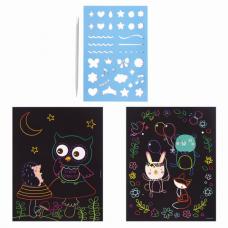 Гравюра магическая 'Сова и ее друзья', А5, 2 основы в комплекте, с трафаретом, ЮНЛАНДИЯ, 662689