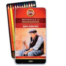 Карандаши цветные акварельные художественные 12 ЦВЕТОВ KOH-I-NOOR 'Mondeluz', 3,8 мм, заточенные, 3722/12, 3722012008BL