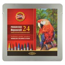 Карандаши цветные акварельные художественные 24 ЦВЕТА KOH-I-NOOR 'Progresso', 7,1 мм, в лаке, 8784/24, 8784024001PLRU