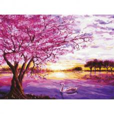 Картина по номерам 40х50 см, ОСТРОВ СОКРОВИЩ 'Цветущая сакура', на подрамнике, акриловые краски, 3 кисти, 662494
