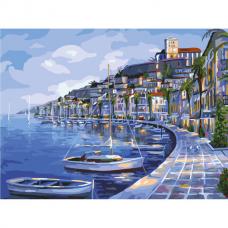 Картина по номерам 40х50 см, ОСТРОВ СОКРОВИЩ 'Набережная', на подрамнике, акриловые краски, 3 кисти, 662463
