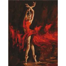 Картина по номерам 40х50 см, ОСТРОВ СОКРОВИЩ 'Огненная женщина', на подрамнике, акриловые краски, 3 кисти, 662467