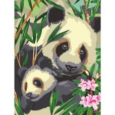 Картина по номерам 40х50 см, ОСТРОВ СОКРОВИЩ 'Панды', на подрамнике, акриловые краски, 3 кисти, 662471