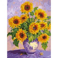 Картина по номерам 40х50 см, ОСТРОВ СОКРОВИЩ 'Подсолнухи', на подрамнике, акриловые краски, 3 кисти, 662483