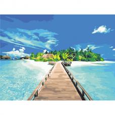 Картина по номерам 40х50 см, ОСТРОВ СОКРОВИЩ 'Райское наслаждение', на подрамнике, акриловые краски, 3 кисти, 662484