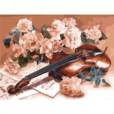 Картина по номерам 40х50 см, ОСТРОВ СОКРОВИЩ 'Скрипка', на подрамнике, акриловые краски, 3 кисти, 662487